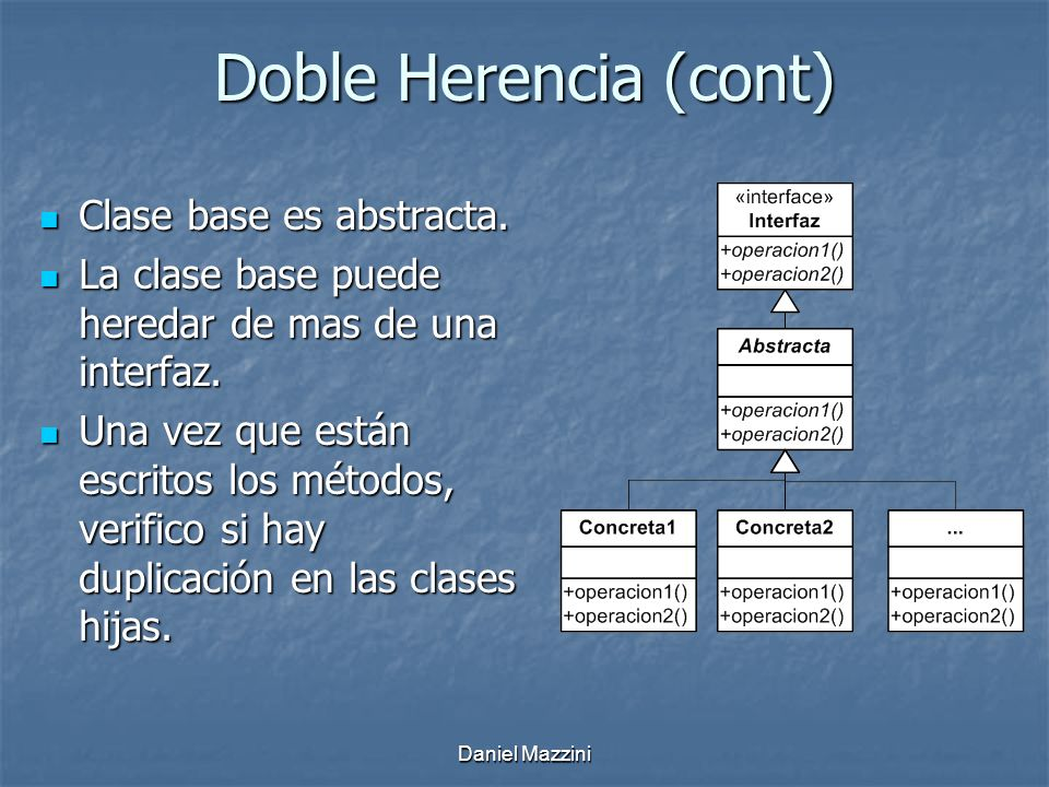 Doble Herencia (cont) Clase base es abstracta.