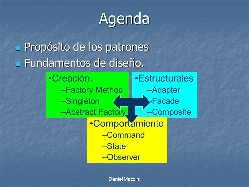 Agenda Propósito de los patrones Fundamentos de diseño. Creación.