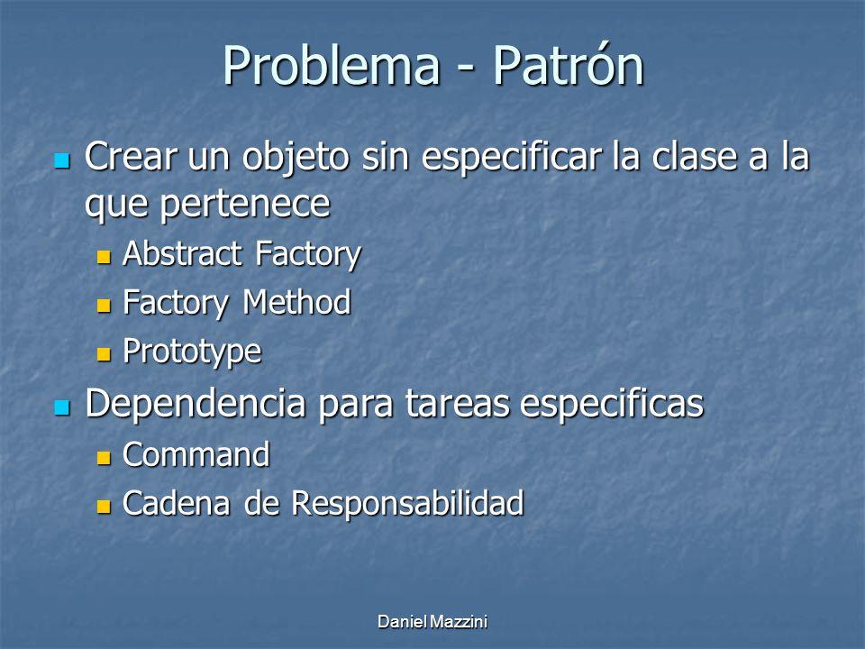 Problema - Patrón Crear un objeto sin especificar la clase a la que pertenece. Abstract Factory. Factory Method.