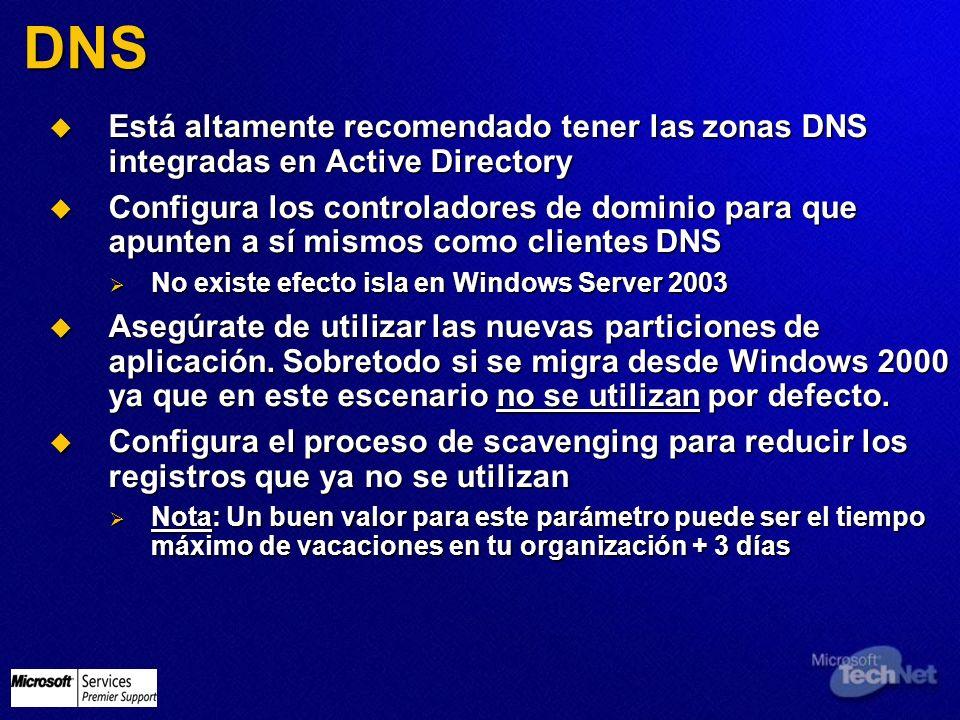 3/24/2017 3:58 PM DNS. Está altamente recomendado tener las zonas DNS integradas en Active Directory.