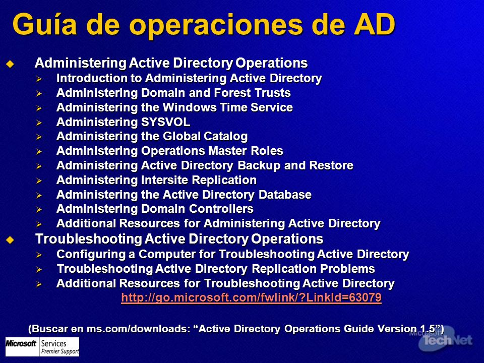 Guía de operaciones de AD