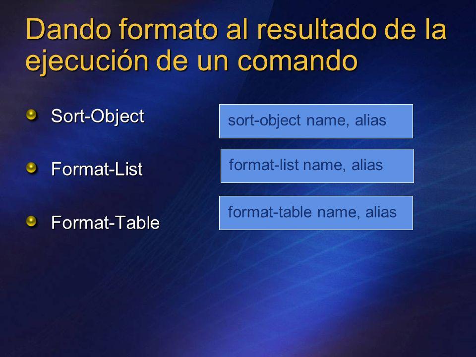 Dando formato al resultado de la ejecución de un comando