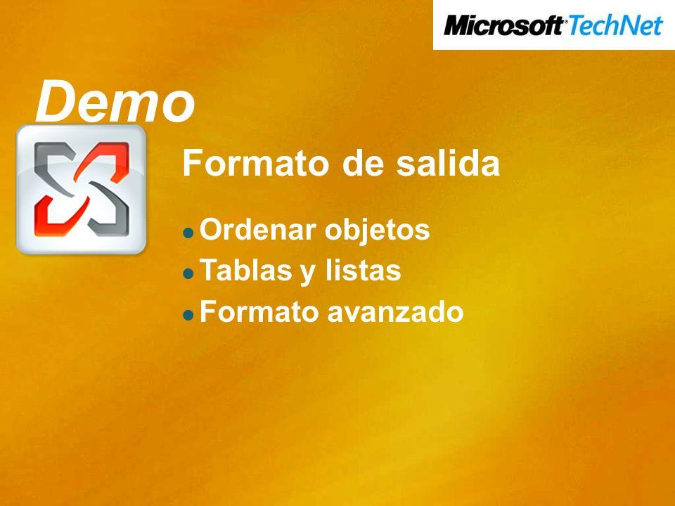 Demo Demo Formato de salida Ordenar objetos Tablas y listas