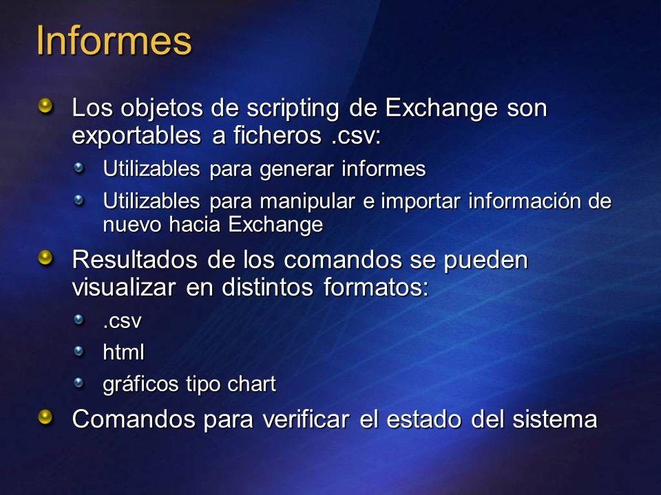 Informes Los objetos de scripting de Exchange son exportables a ficheros .csv: Utilizables para generar informes.
