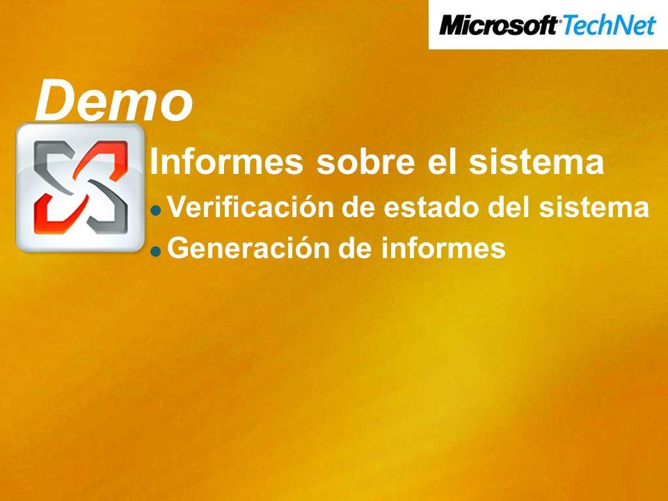 Demo Demo Informes sobre el sistema Verificación de estado del sistema