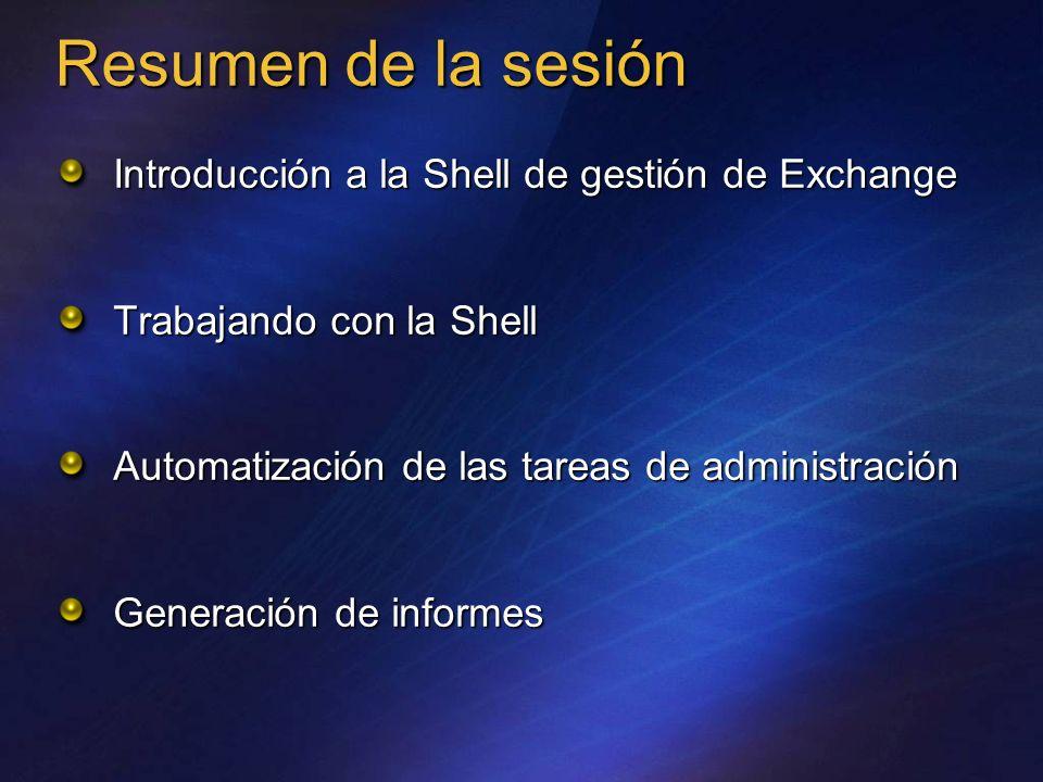 Resumen de la sesión Introducción a la Shell de gestión de Exchange