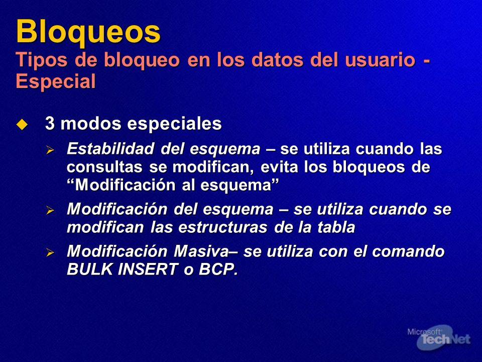 Bloqueos Tipos de bloqueo en los datos del usuario - Especial