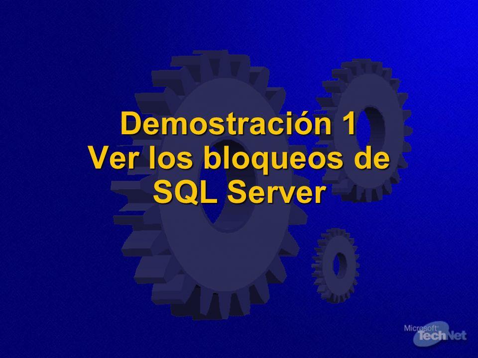 Demostración 1 Ver los bloqueos de SQL Server