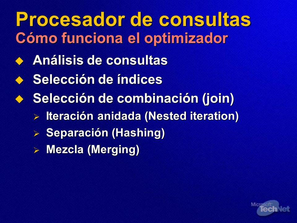 Procesador de consultas Cómo funciona el optimizador