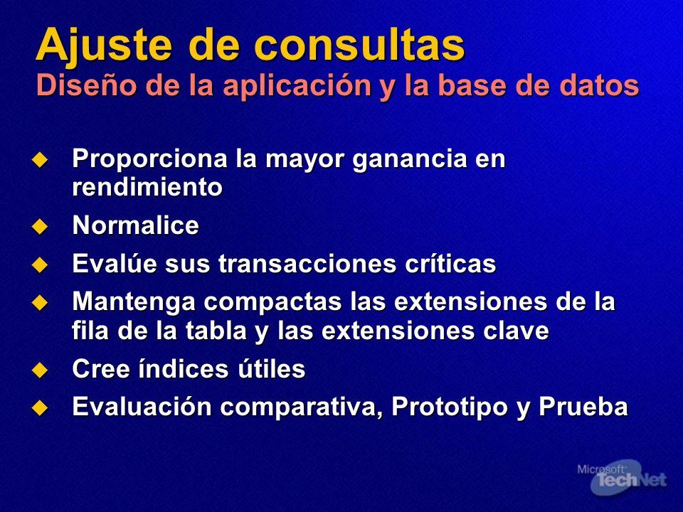 Ajuste de consultas Diseño de la aplicación y la base de datos