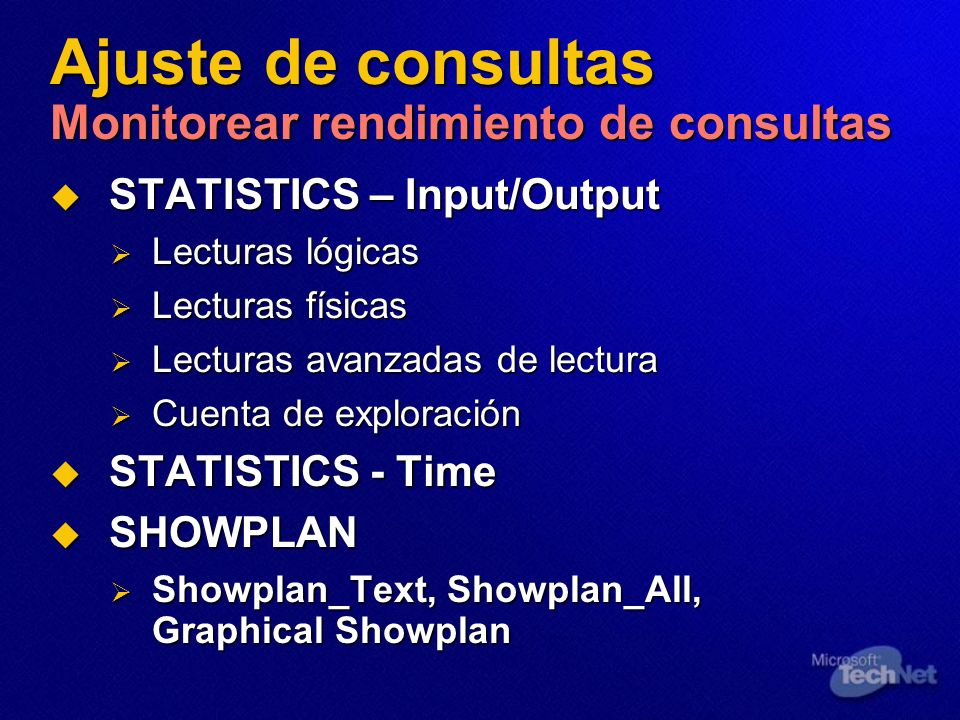 Ajuste de consultas Monitorear rendimiento de consultas