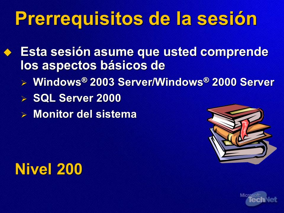Prerrequisitos de la sesión