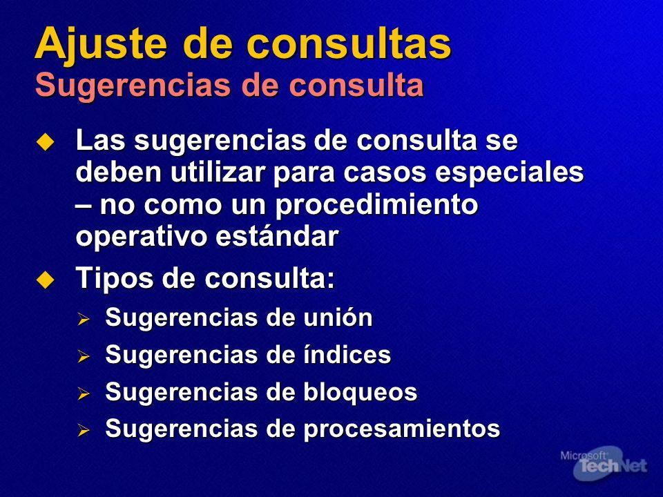 Ajuste de consultas Sugerencias de consulta