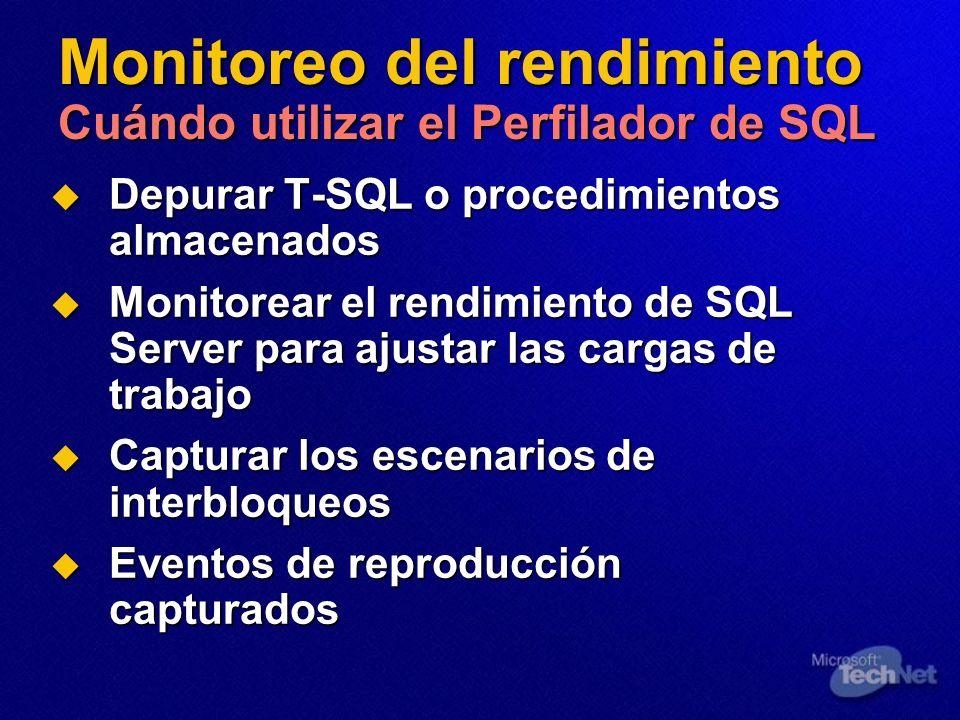 Monitoreo del rendimiento Cuándo utilizar el Perfilador de SQL