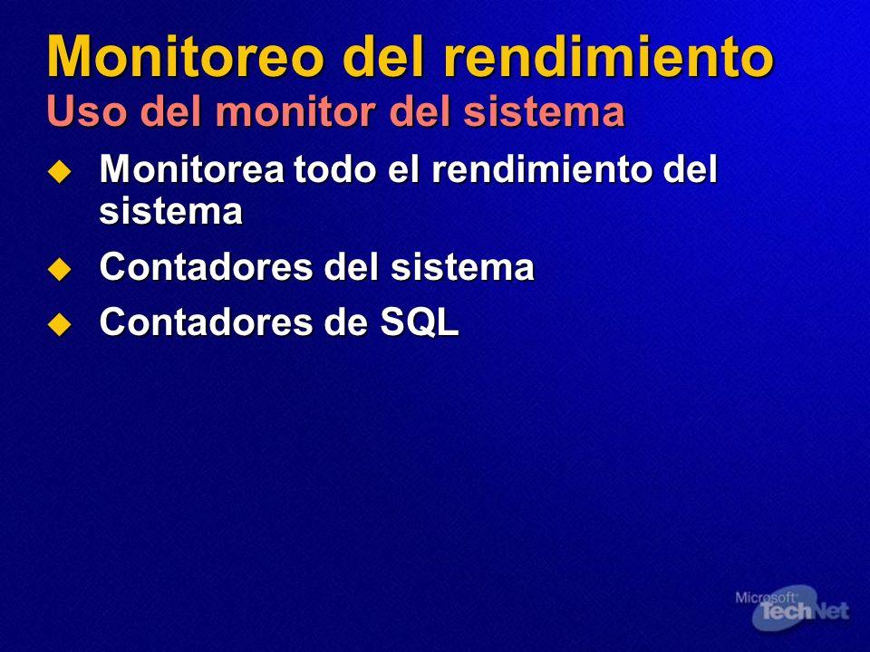 Monitoreo del rendimiento Uso del monitor del sistema
