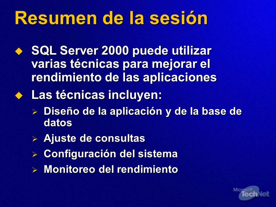 Resumen de la sesiónSQL Server 2000 puede utilizar varias técnicas para mejorar el rendimiento de las aplicaciones.