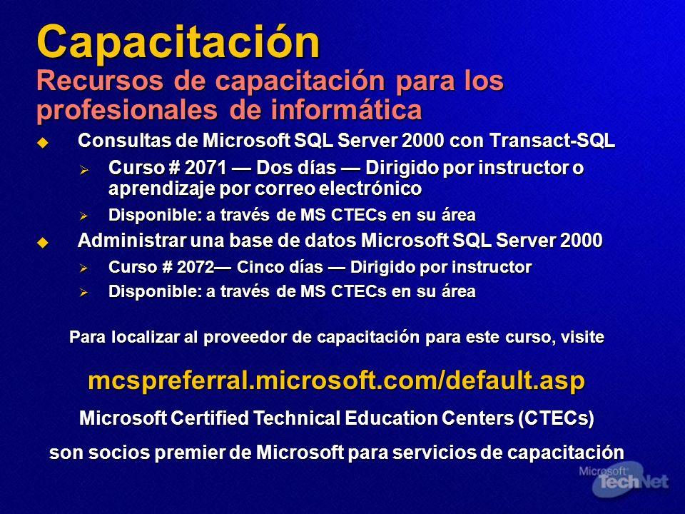 Capacitación Recursos de capacitación para los profesionales de informática