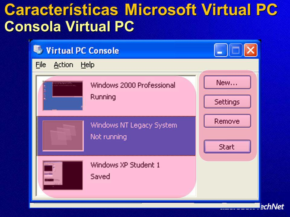 Características Microsoft Virtual PC Consola Virtual PC