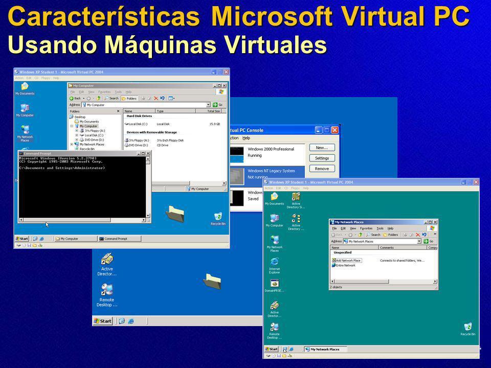 Características Microsoft Virtual PC Usando Máquinas Virtuales