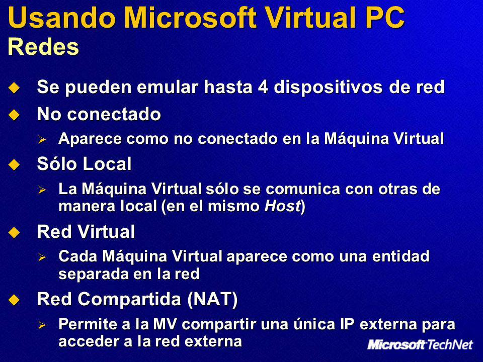 Usando Microsoft Virtual PC Redes