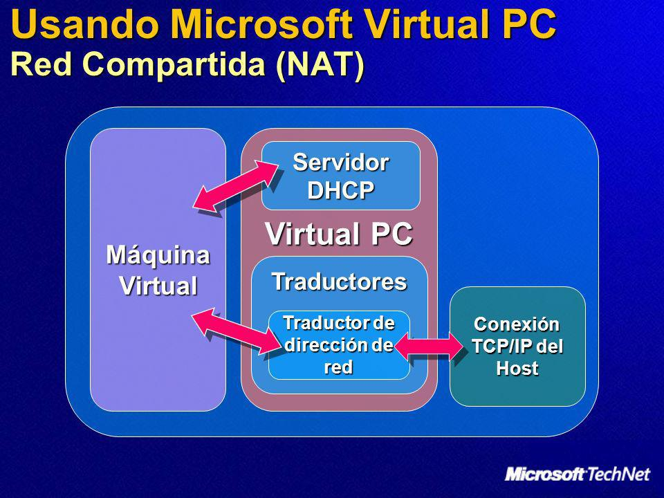 Usando Microsoft Virtual PC Red Compartida (NAT)