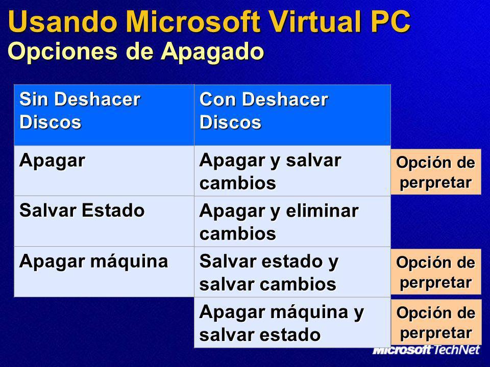 Usando Microsoft Virtual PC Opciones de Apagado
