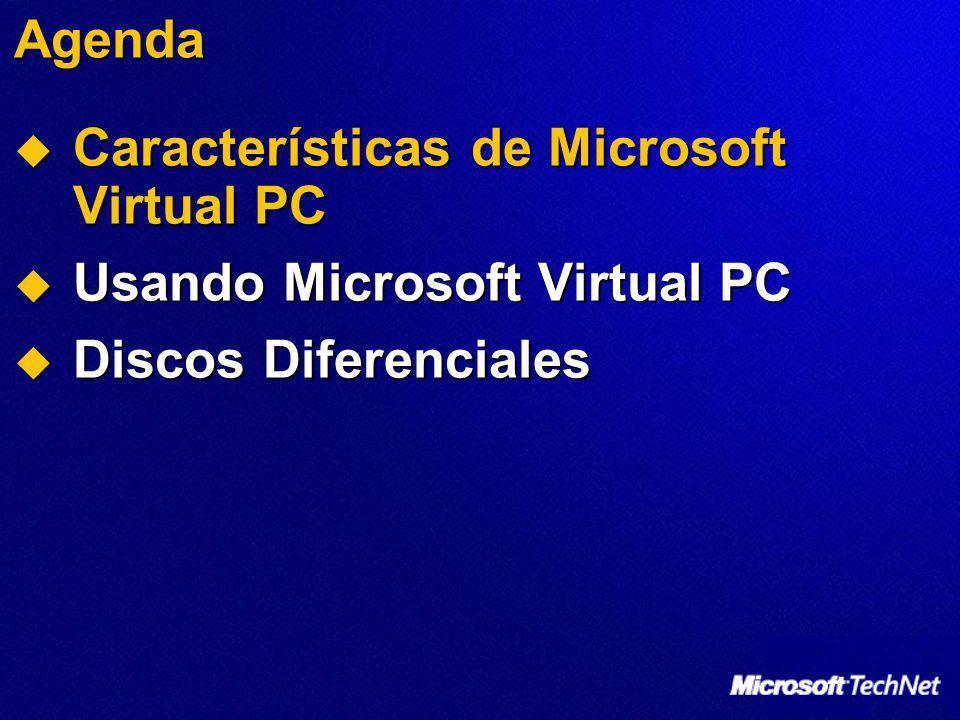 Agenda Características de Microsoft Virtual PC Usando Microsoft Virtual PC Discos Diferenciales