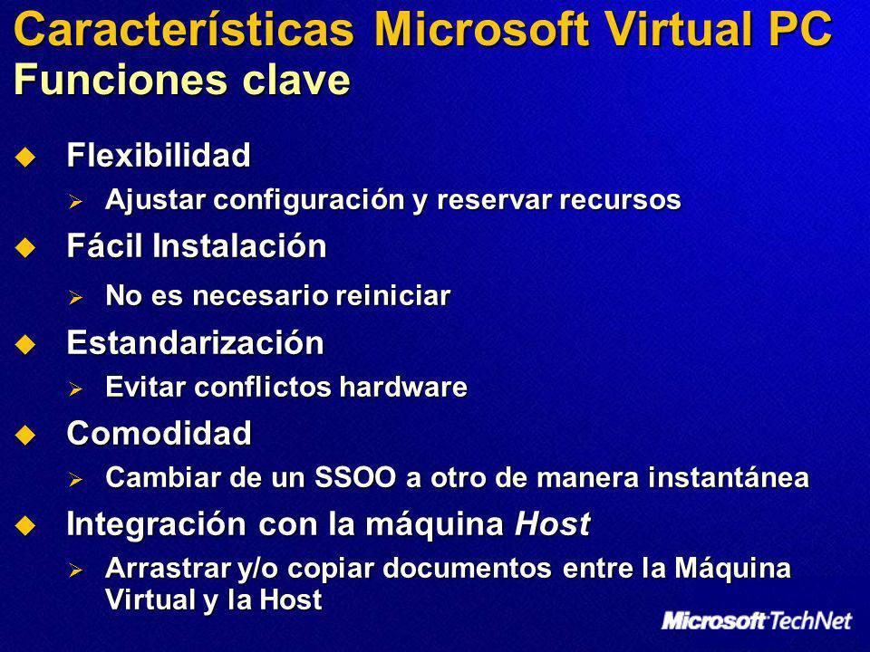 Características Microsoft Virtual PC Funciones clave