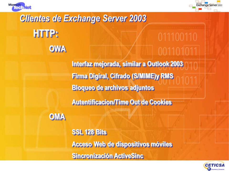 Clientes de Exchange Server 2003