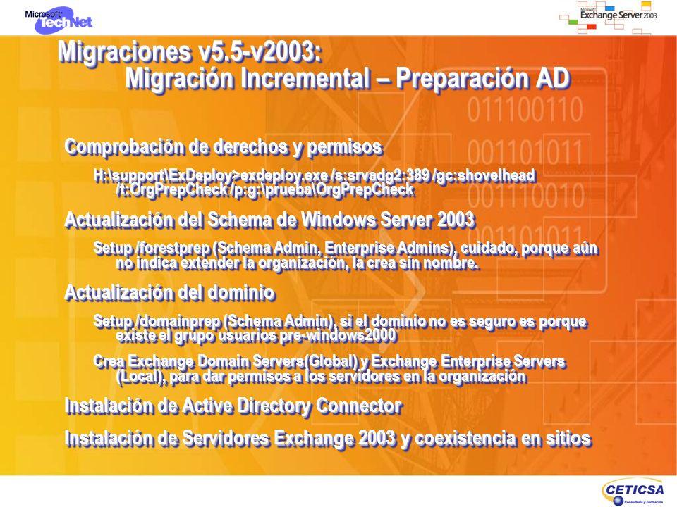 Migraciones v5.5-v2003: Migración Incremental – Preparación AD