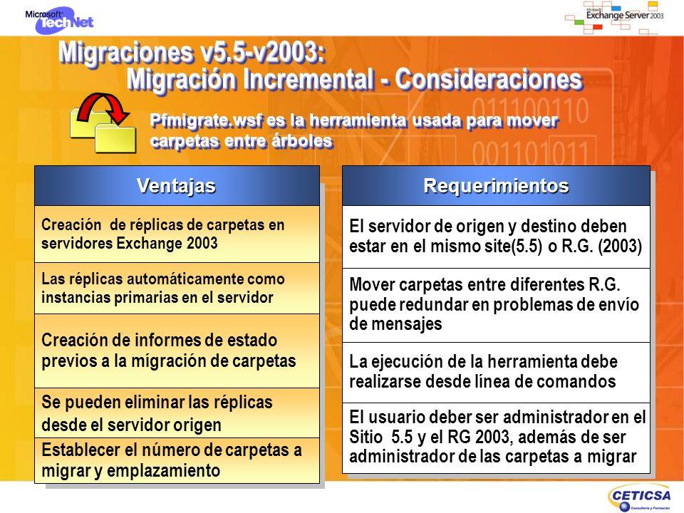 Migraciones v5.5-v2003: Migración Incremental - Consideraciones