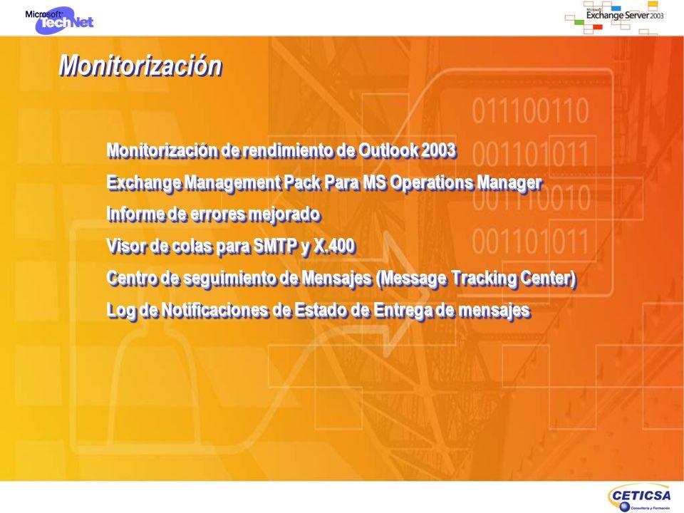 Monitorización Monitorización de rendimiento de Outlook 2003