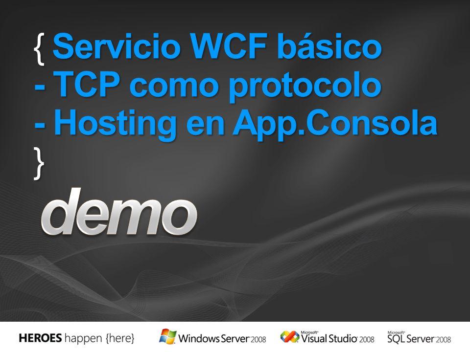 { Servicio WCF básico - TCP como protocolo - Hosting en App.Consola }