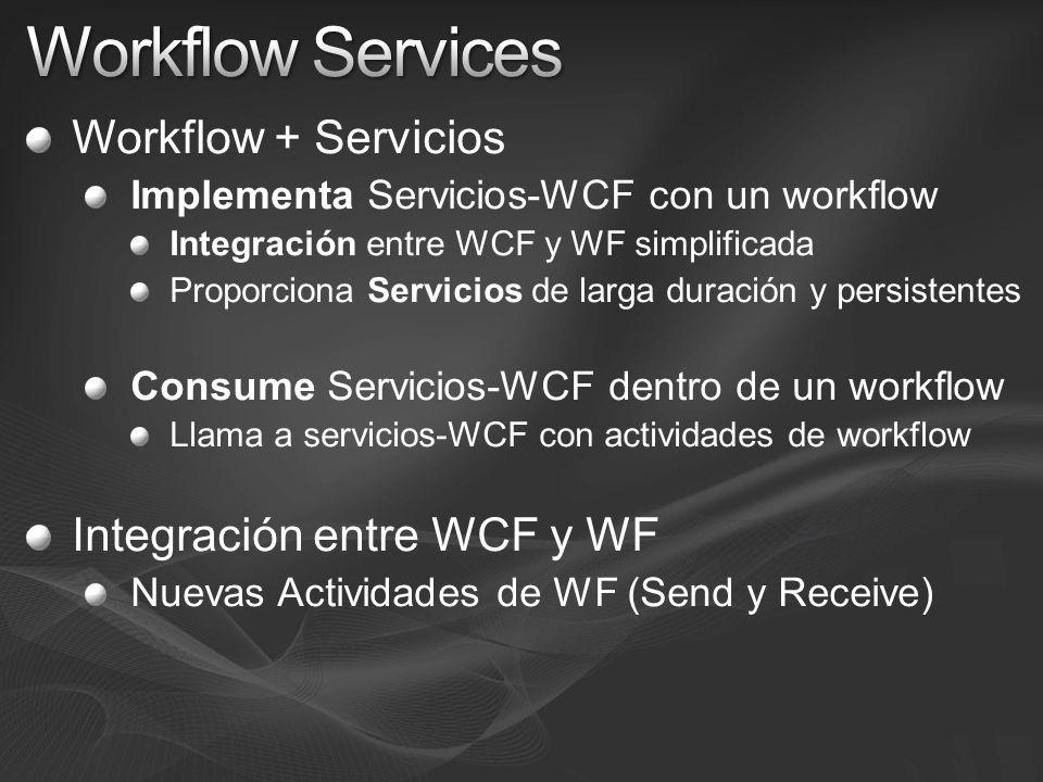 Workflow Services Workflow + Servicios Integración entre WCF y WF
