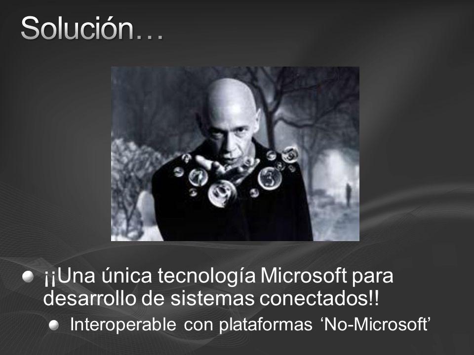 Solución… ¡¡Una única tecnología Microsoft para desarrollo de sistemas conectados!.