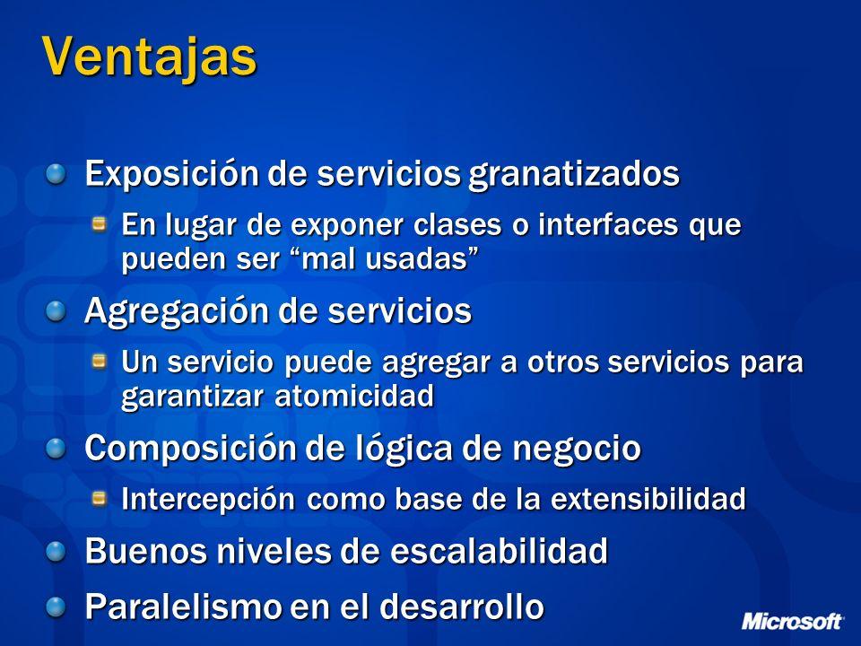 Ventajas Exposición de servicios granatizados Agregación de servicios
