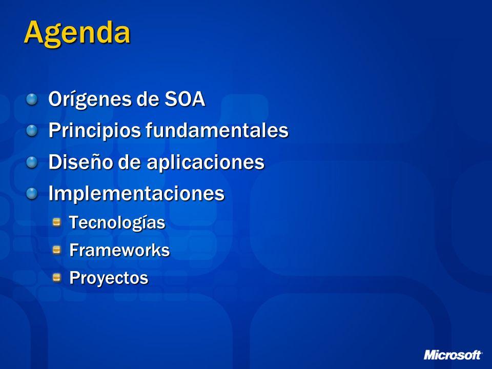 Agenda Orígenes de SOA Principios fundamentales Diseño de aplicaciones