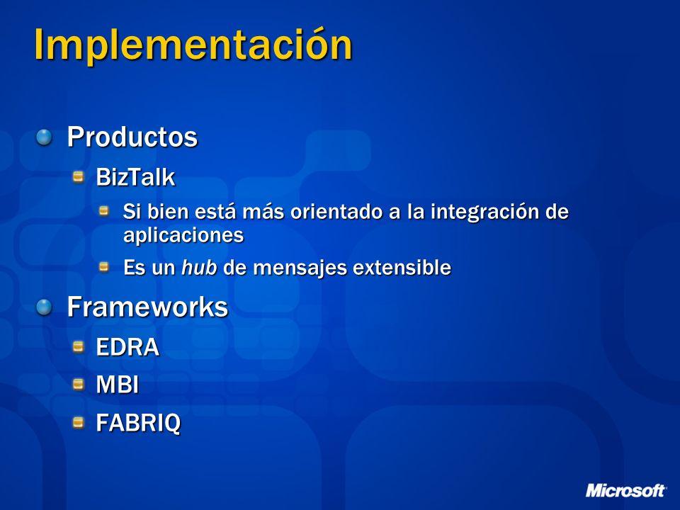 Implementación Productos Frameworks BizTalk EDRA MBI FABRIQ