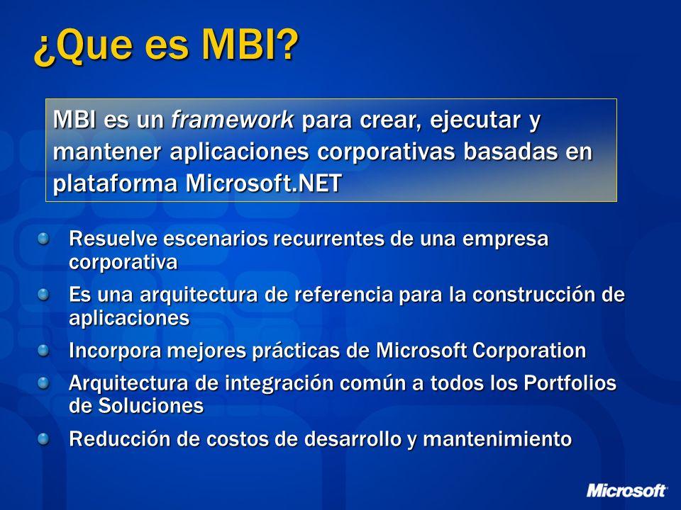 ¿Que es MBI MBI es un framework para crear, ejecutar y mantener aplicaciones corporativas basadas en plataforma Microsoft.NET.
