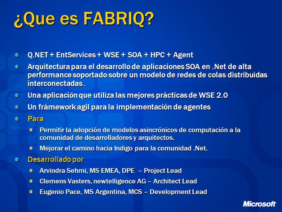 ¿Que es FABRIQ Q.NET + EntServices + WSE + SOA + HPC + Agent