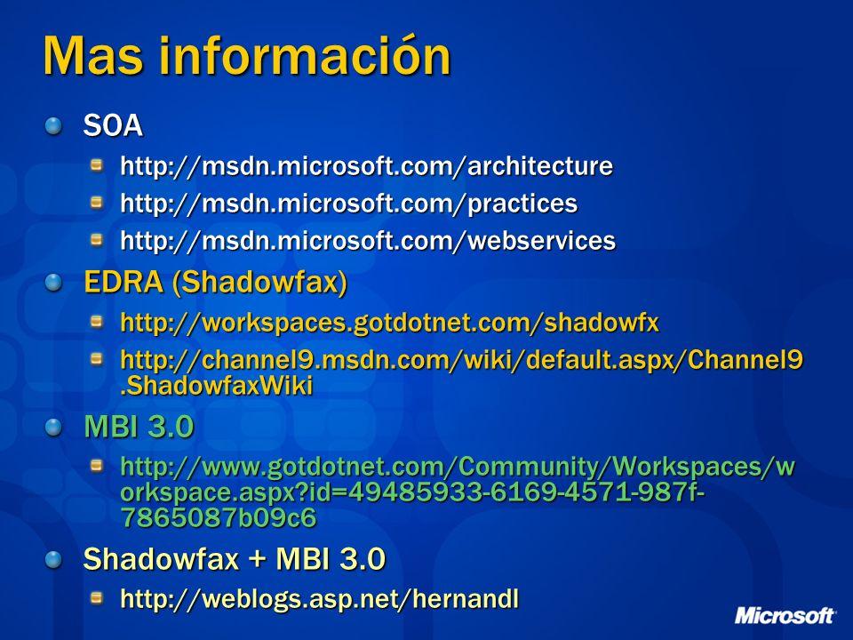 Mas información SOA EDRA (Shadowfax) MBI 3.0 Shadowfax + MBI 3.0