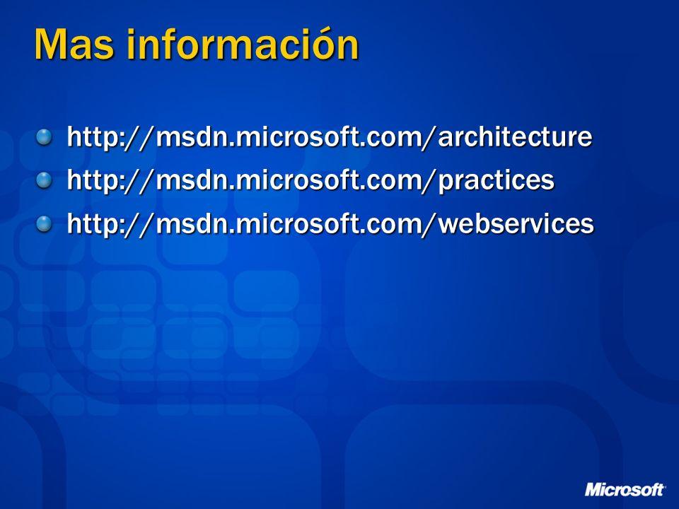 Mas información http://msdn.microsoft.com/architecture