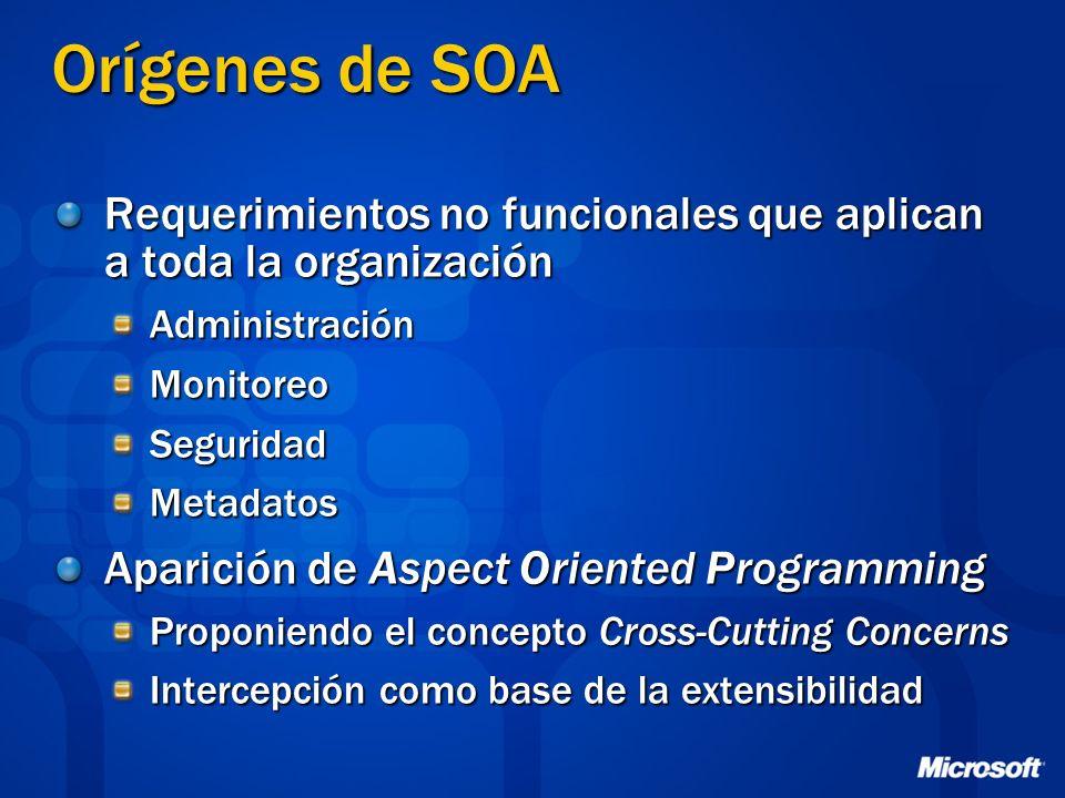 Orígenes de SOA Requerimientos no funcionales que aplican a toda la organización. Administración. Monitoreo.
