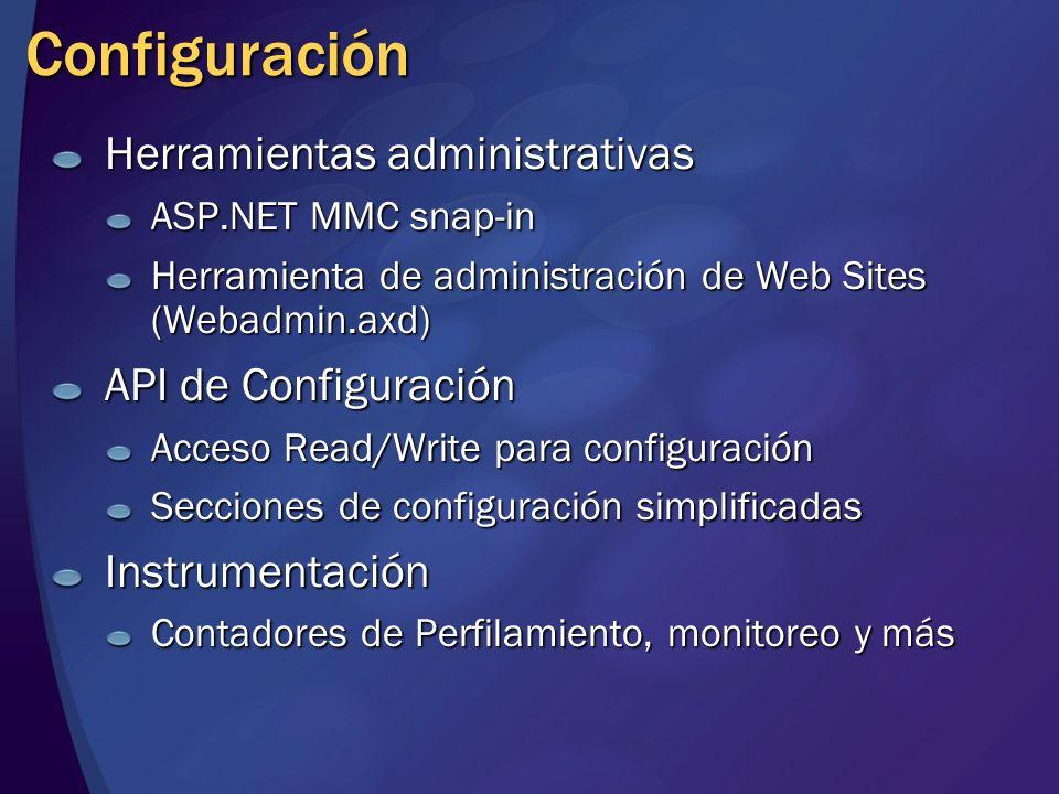 Configuración Herramientas administrativas API de Configuración