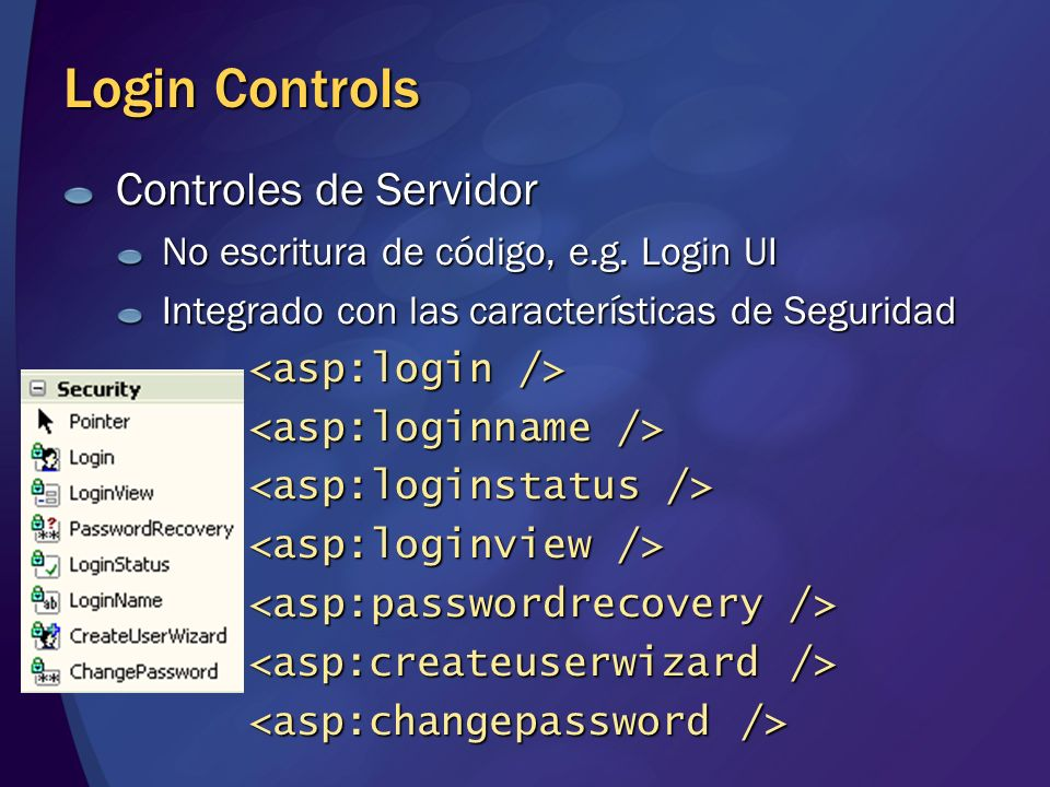 Login Controls Controles de Servidor