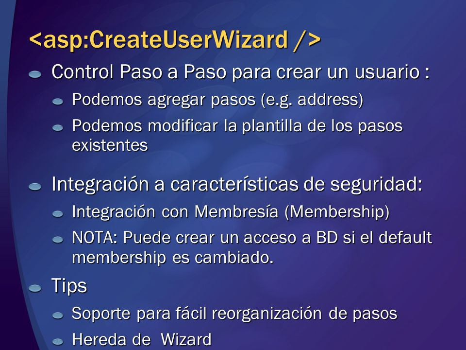 <asp:CreateUserWizard />
