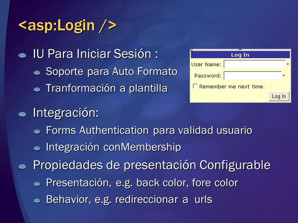 <asp:Login /> IU Para Iniciar Sesión : Integración: