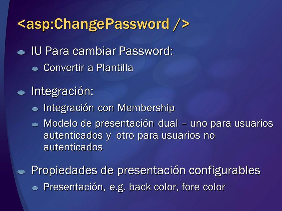 <asp:ChangePassword />