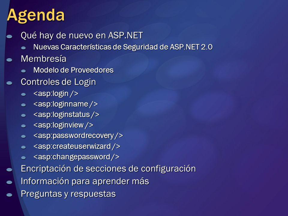 Agenda Qué hay de nuevo en ASP.NET Membresía Controles de Login