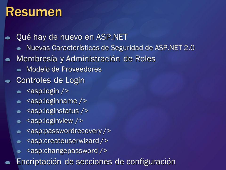 Resumen Qué hay de nuevo en ASP.NET